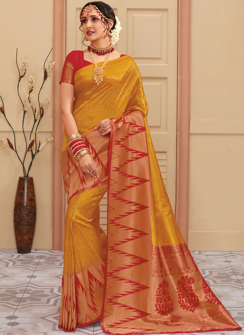 301148c92a Exotic Gold Ceremonial Classic Saree. Tap to expand