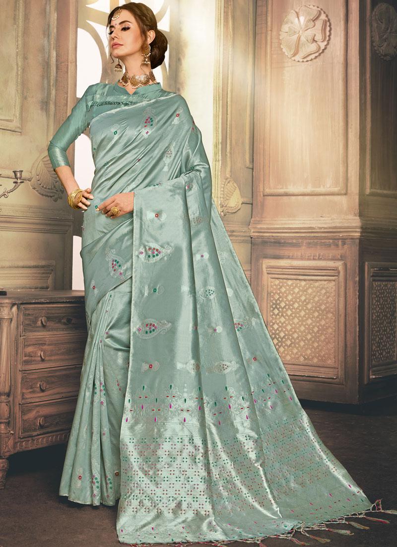 Exquisite Blue Weaving Traditional Saree