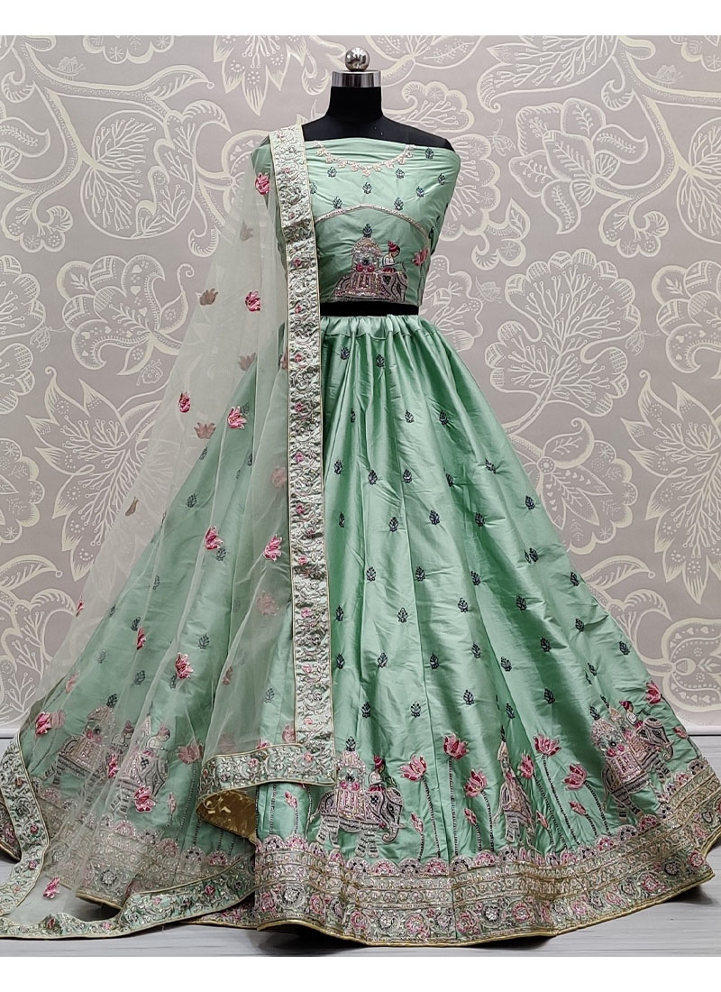 Exquisite Light Sea Green Flaired Sober Work Wedding Girlish Lehenga Choli