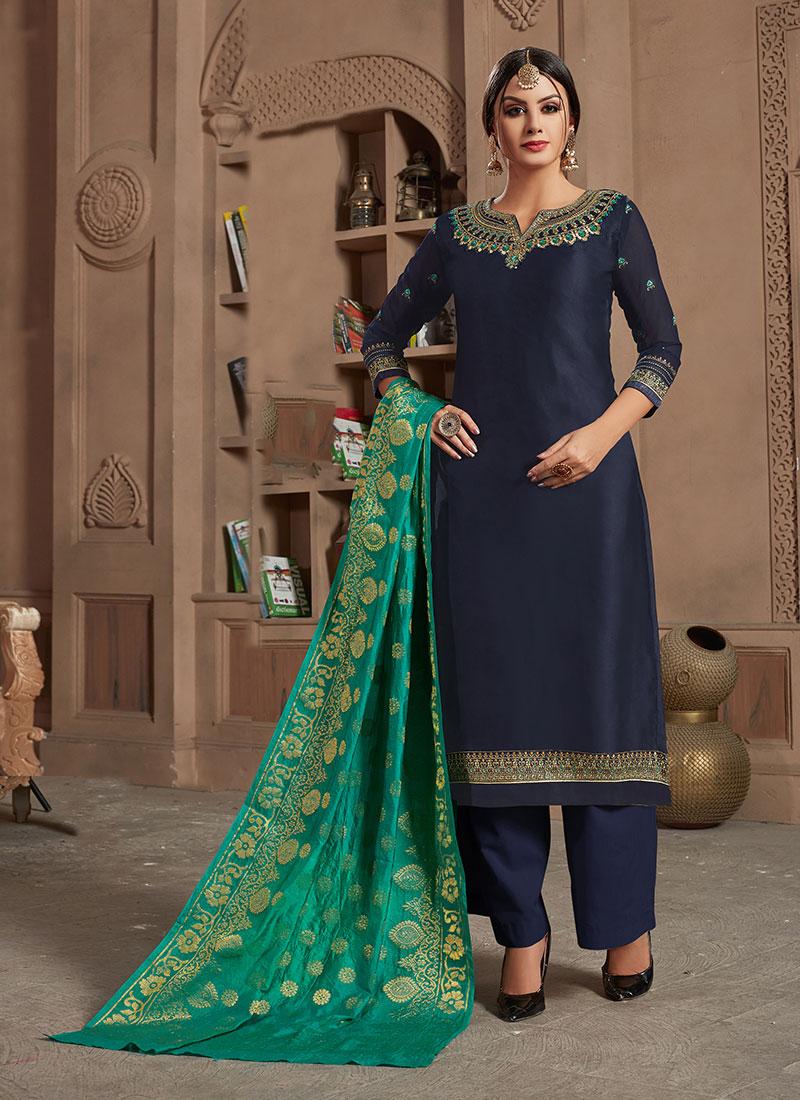 Navy Blue Georgette Satin Designer Straight Salwar Suit