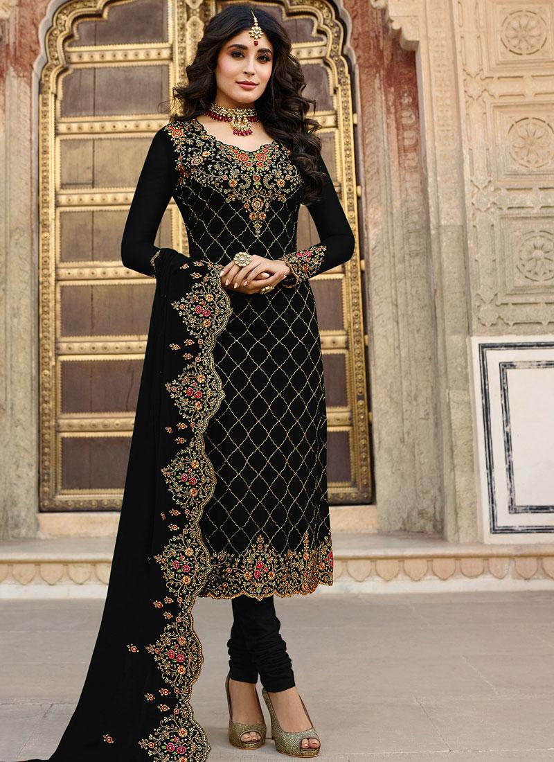 Embroidered Black Kritika Kamra Churidar Designer Suit