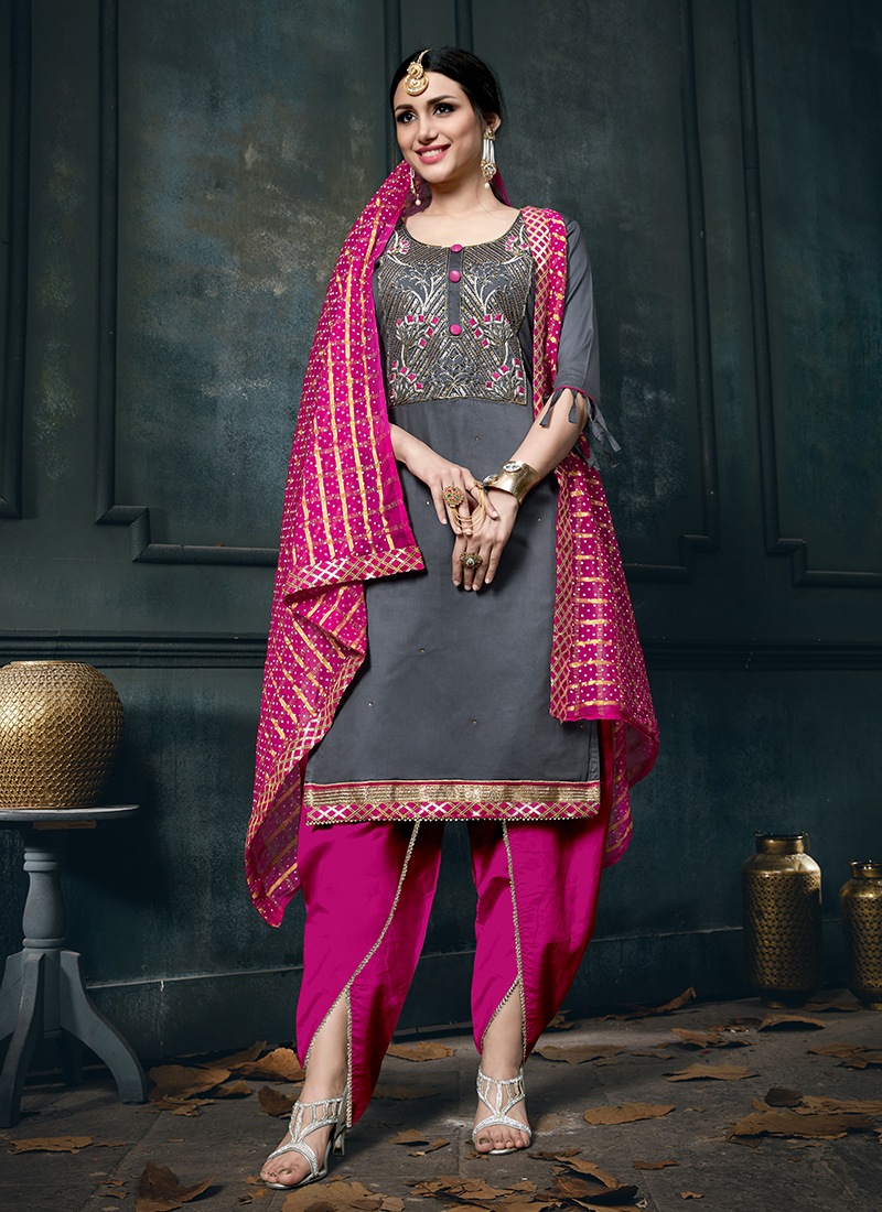 Eye-Catchy Embroidered Cotton Designer Patiala Suit