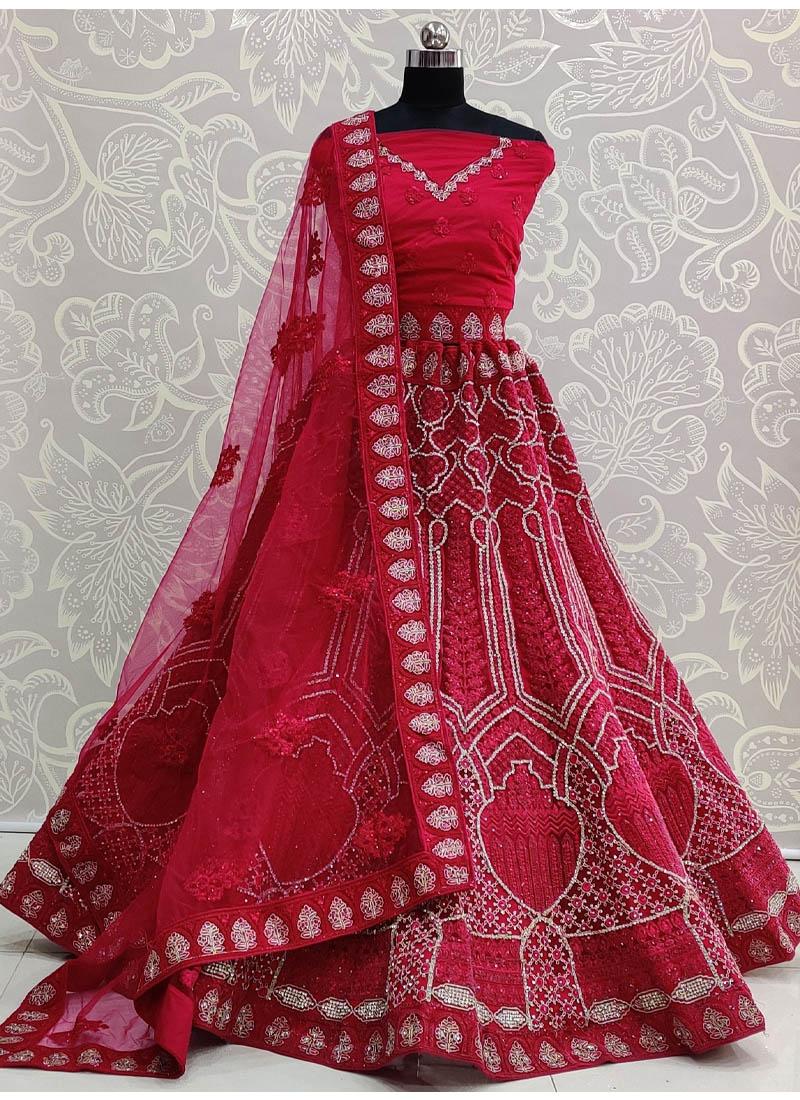 Eye-opening Double Dori Embroidery Designer Crimson Bridal Lehenga Choli