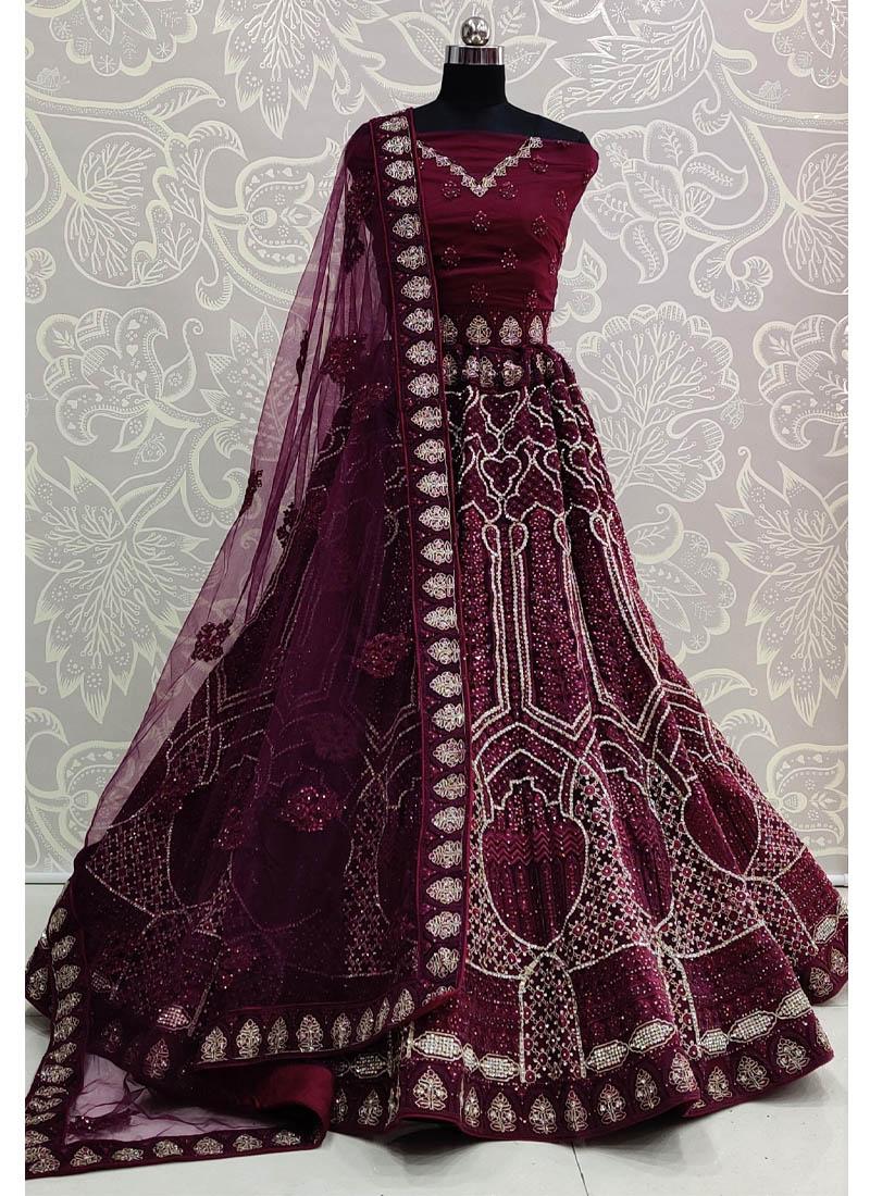 Eye-opening Double Dori Embroidery Designer Purple Bridal Lehenga Choli