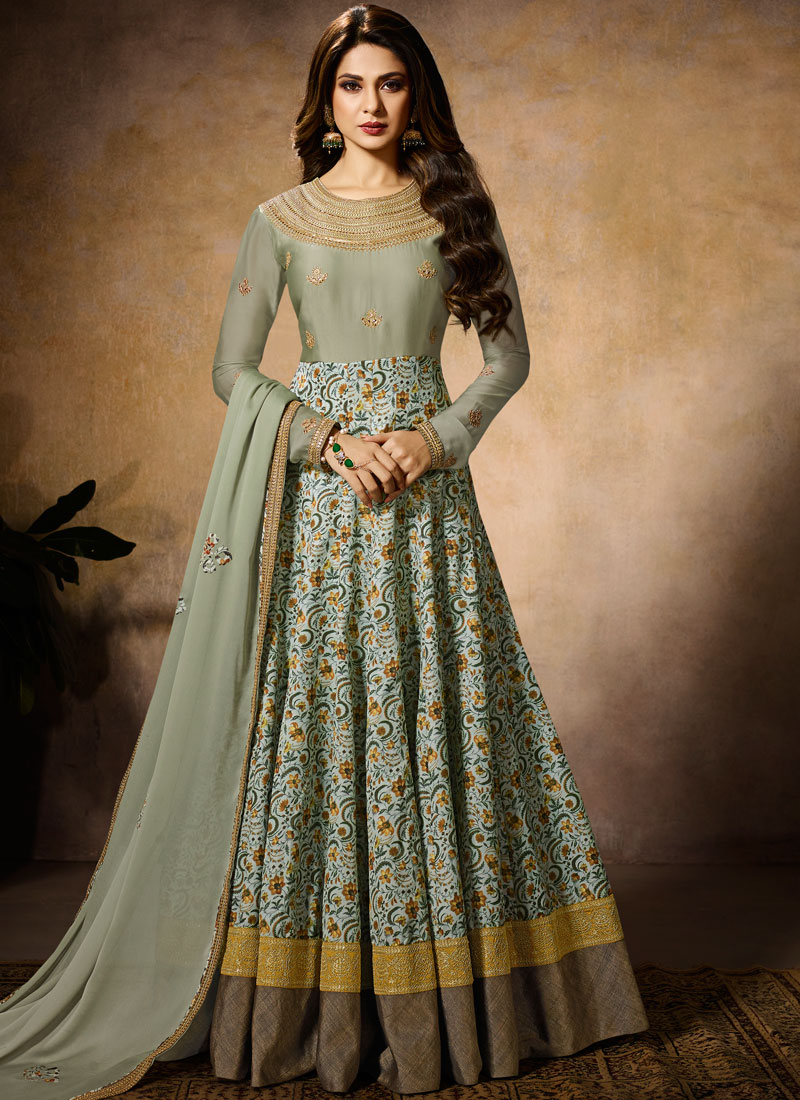 Fab Resham Green Jennifer Winget Floor Length Anarkali Suit