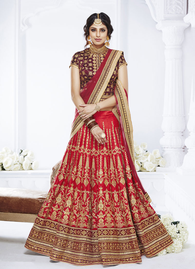 Fabulous Net Embroidered Red Designer Lehenga Choli