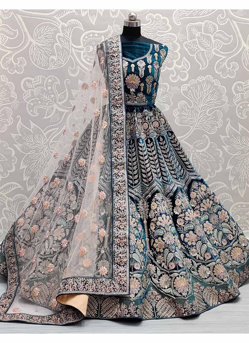 Fabulous Zari & Dori Work Bridal Lehenga Choli In Rama Green
