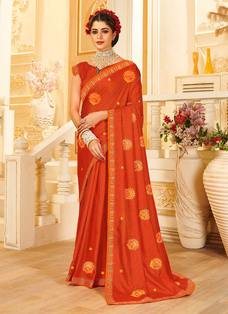 Famous Embroidery Work Silk Saree In Rust