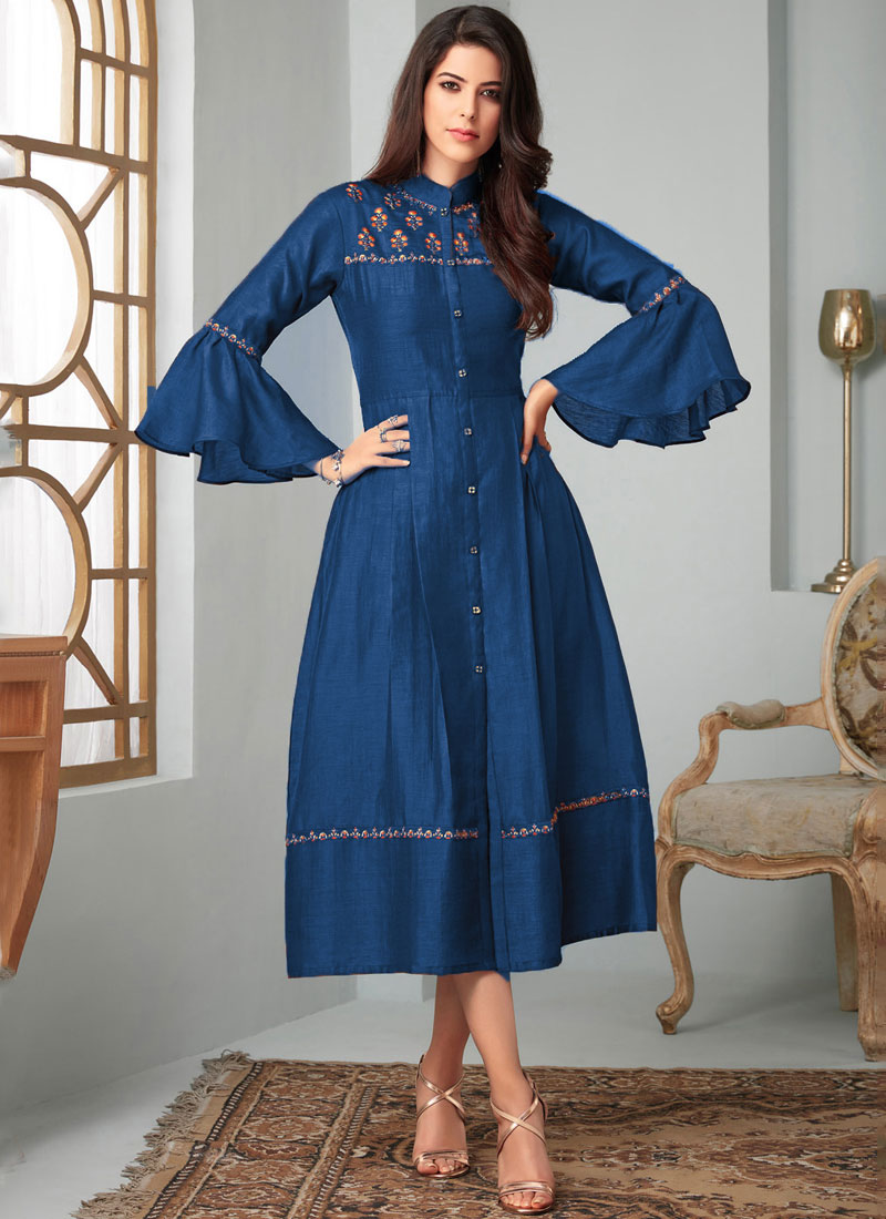 Fancy Fabric Blue Party Wear Kurti