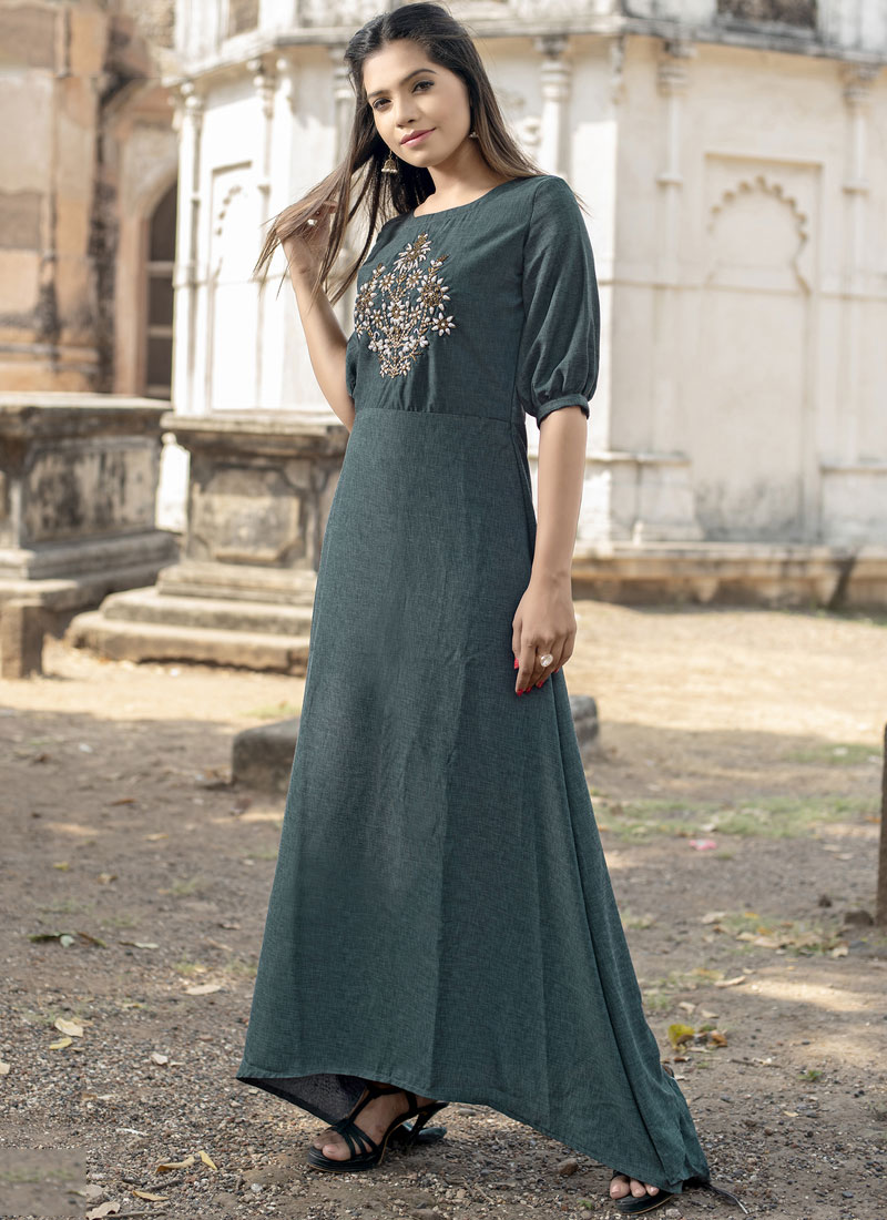 Fancy Fabric Designer Kurti in Green