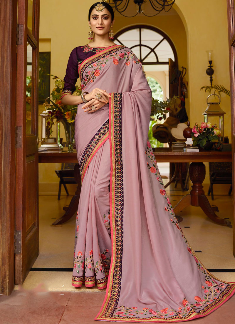 Fancy Fabric Embroidered Classic Saree in Pink