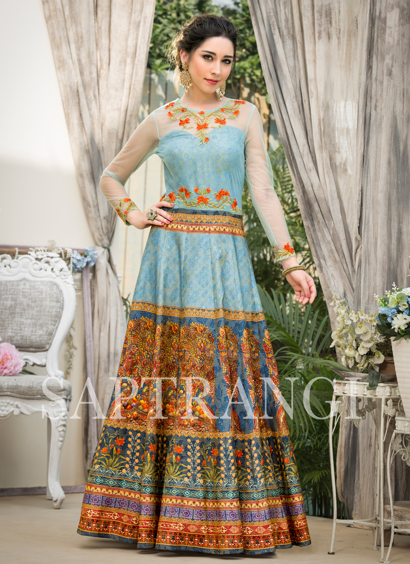 Fancy Fabric Embroidered Designer Gown in Blue