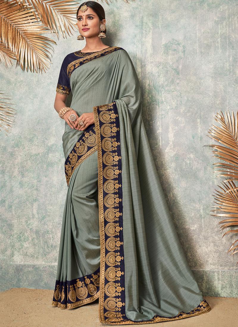 0ef42e74ba Fancy Fabric Grey Patch Border Classic Designer Saree. Hover to zoom