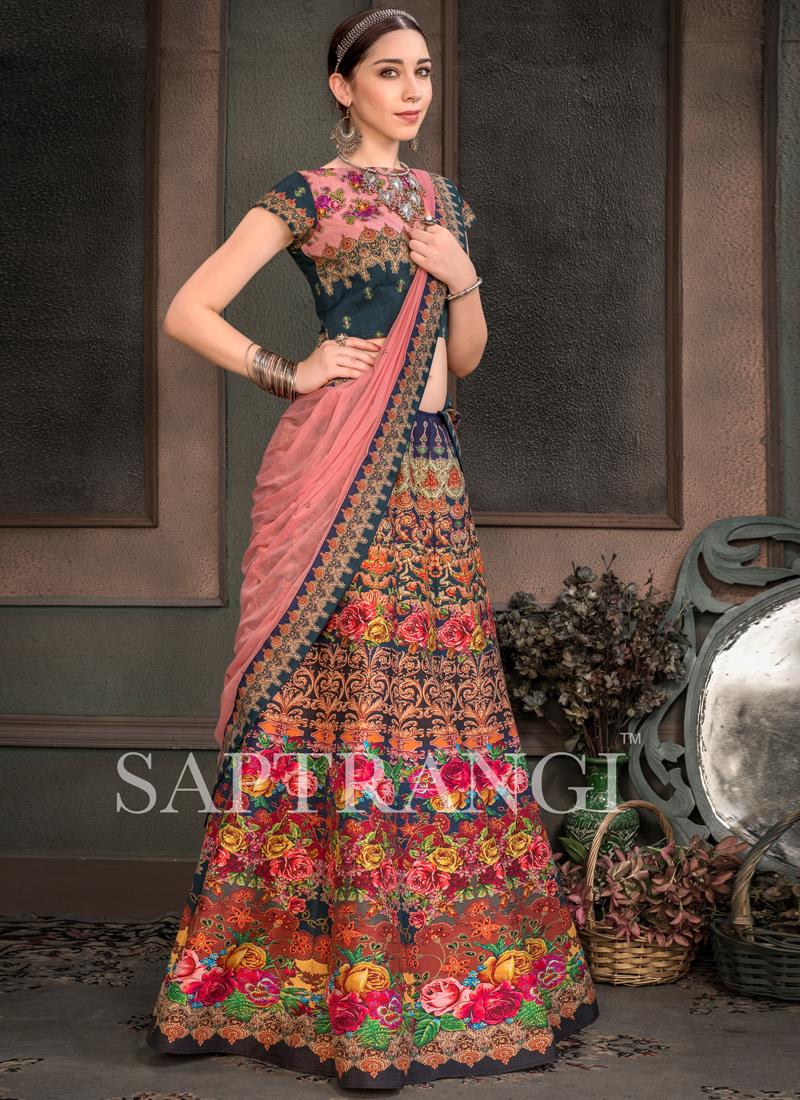 Fancy Fabric Multi Colour Embroidered Lehenga Choli