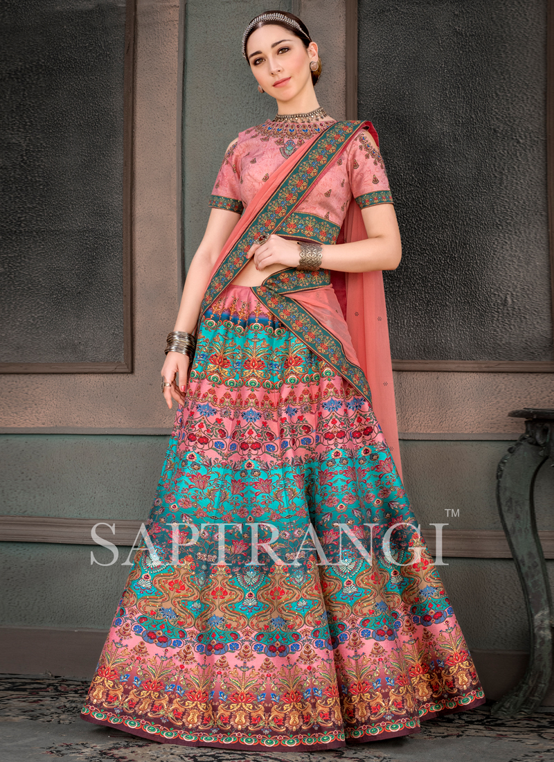 Fancy Fabric Print Multi Colour Lehenga Choli