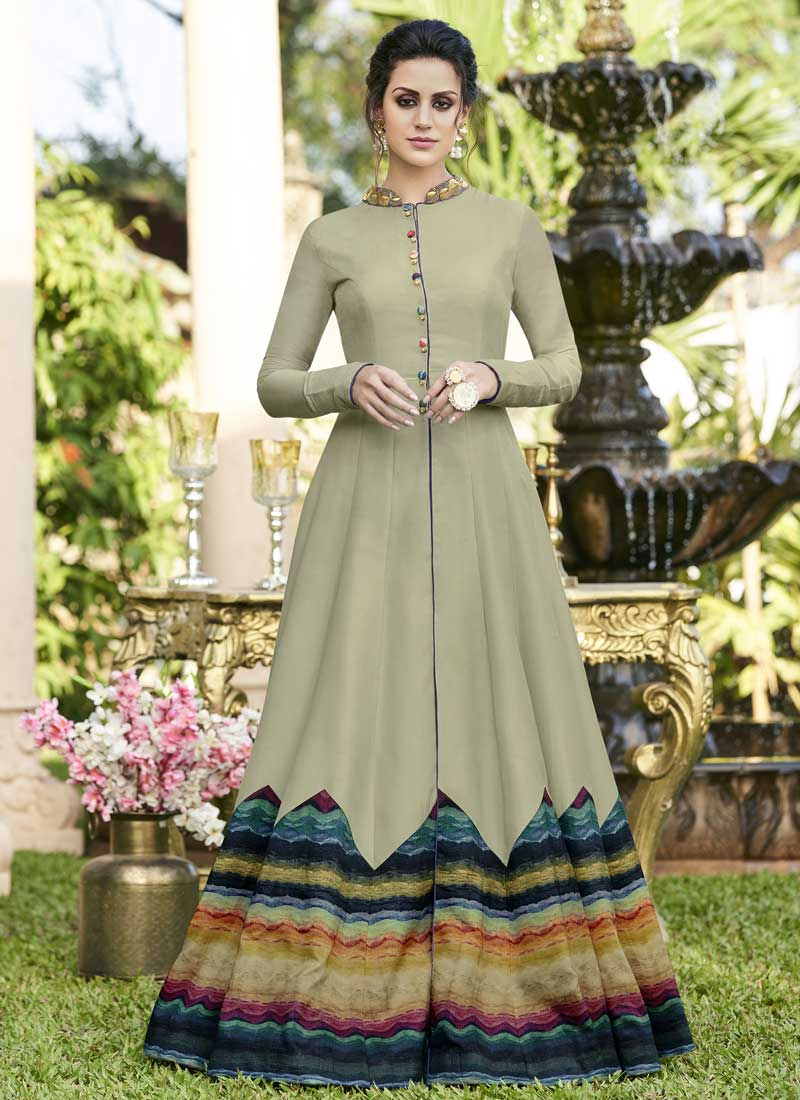 Fancy Fabric Sea Green Fancy Designer Gown
