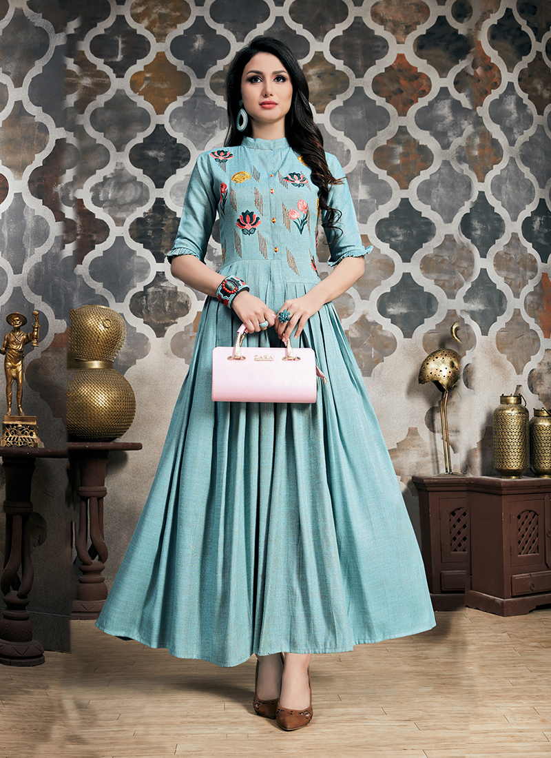 Fancy Khadi Party Wear Kurti in Blue