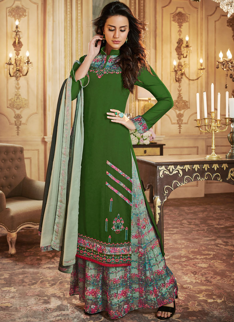 Fascinating Green Print Designer Palazzo Salwar Suit