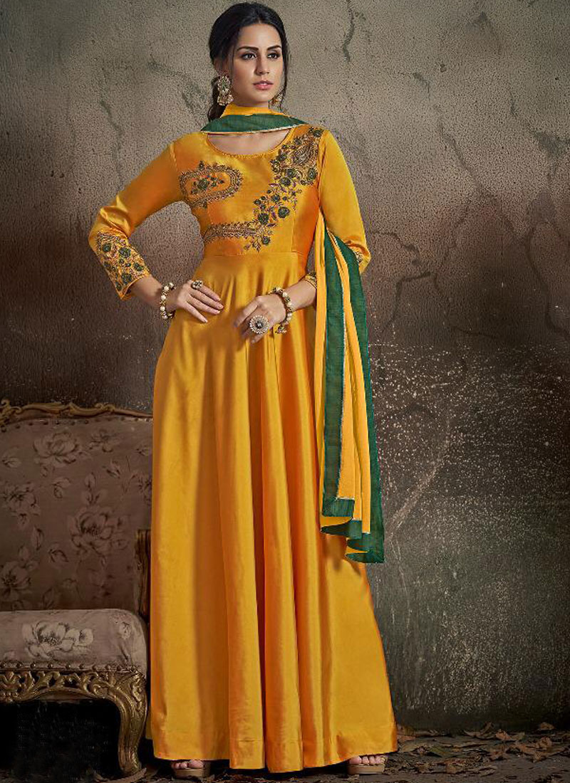 Fascinating Tafeta Silk Yellow Embroidered Trendy Gown