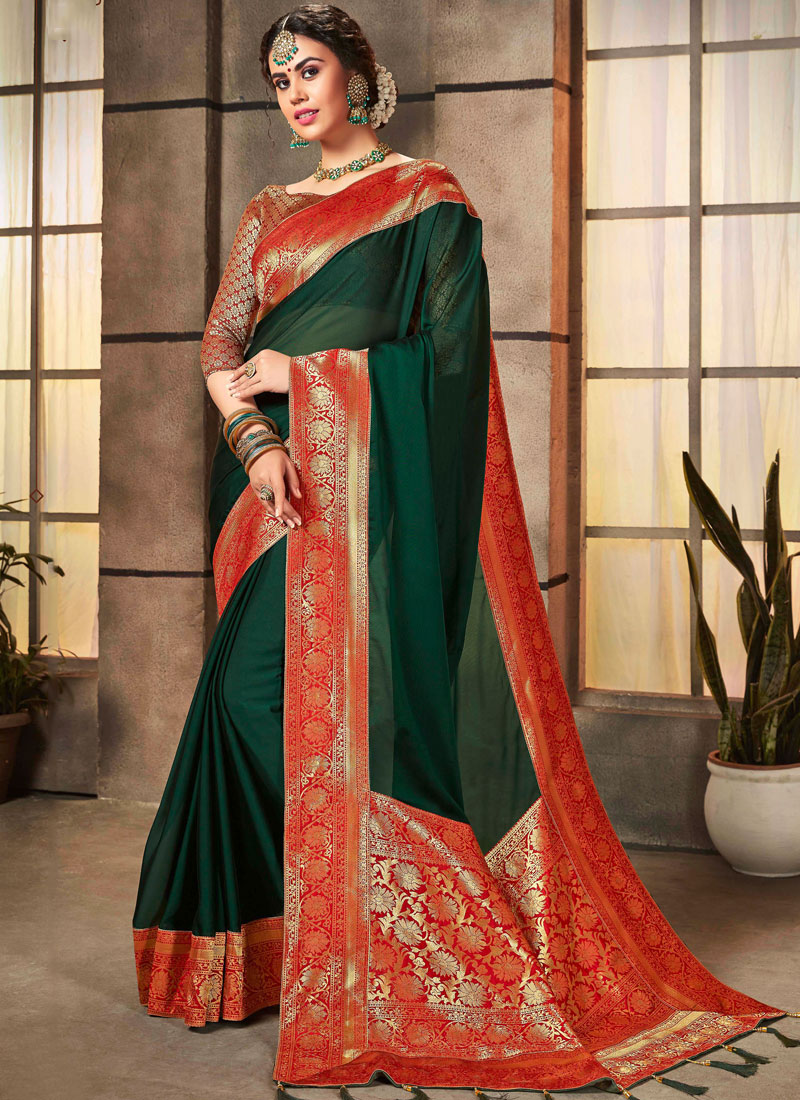 Fashionable Abstract Print Georgette Satin Designer Saree