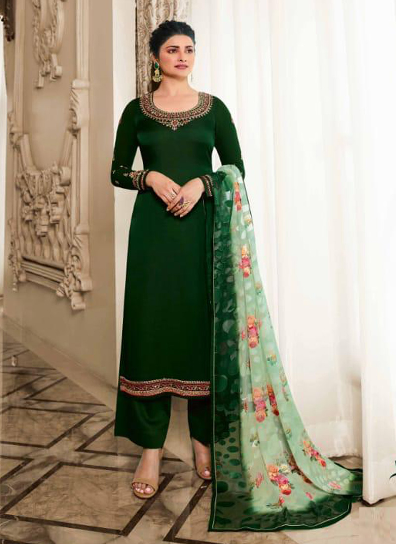 Fashionable Embroidered Georgette Pakistani Suit In Green