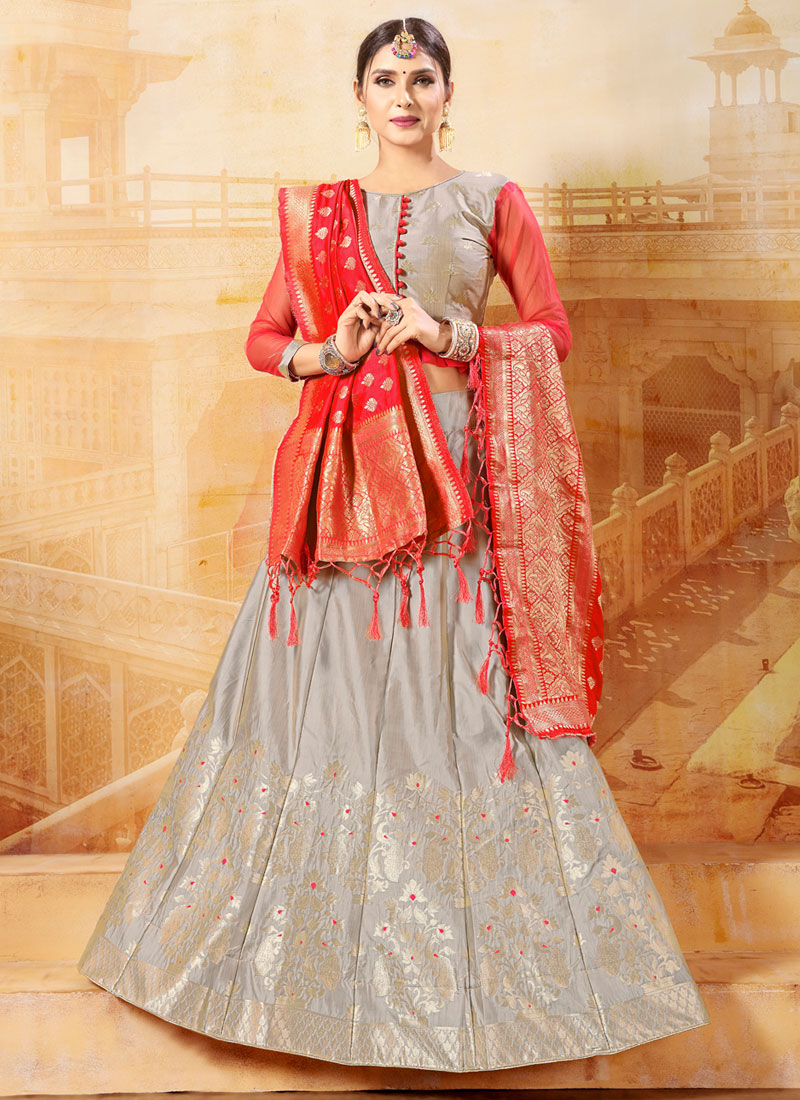 91b27d79ea Fashionable Grey Sangeet Designer Lehenga Choli. Hover to zoom