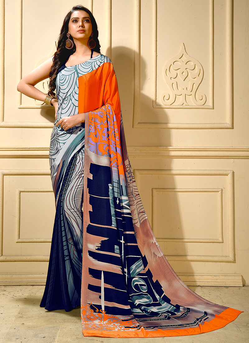 Faux Crepe Grey Printed Trendy Saree