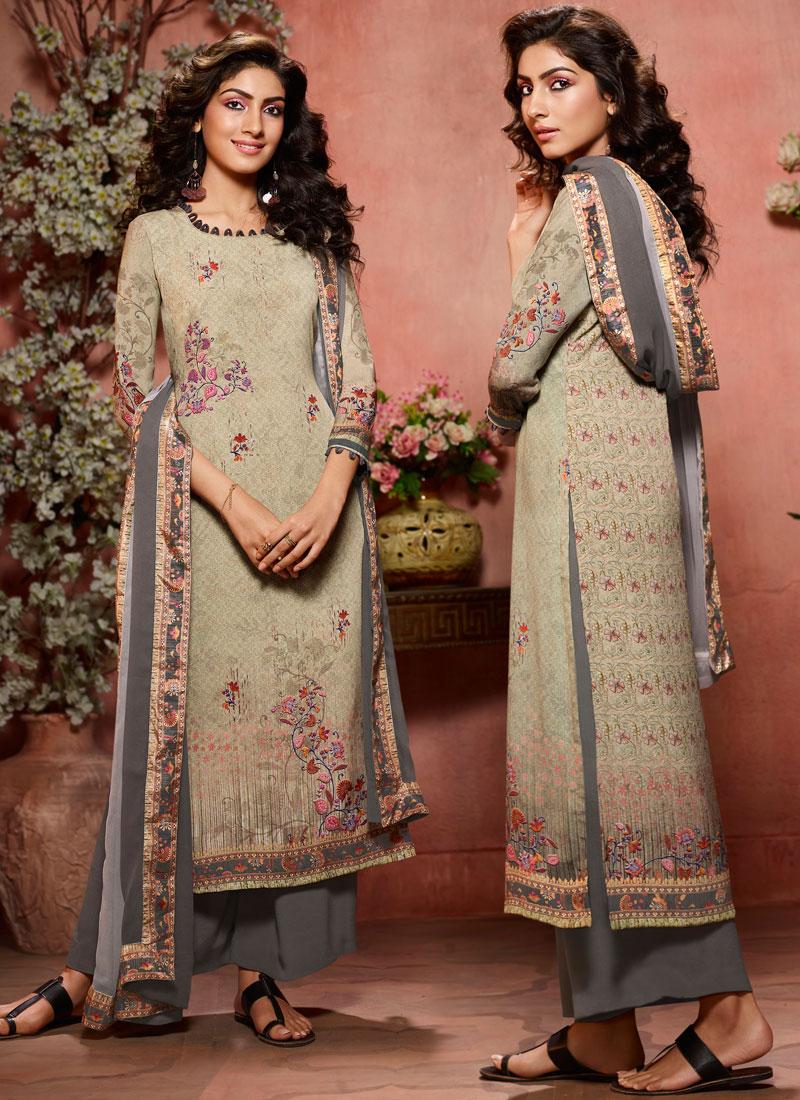 Faux Crepe Multi Colour Designer Palazzo Salwar Kameez