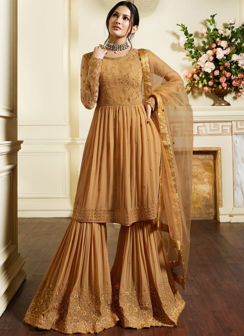 Faux Georgette Designer Pakistani Suit in Yellow