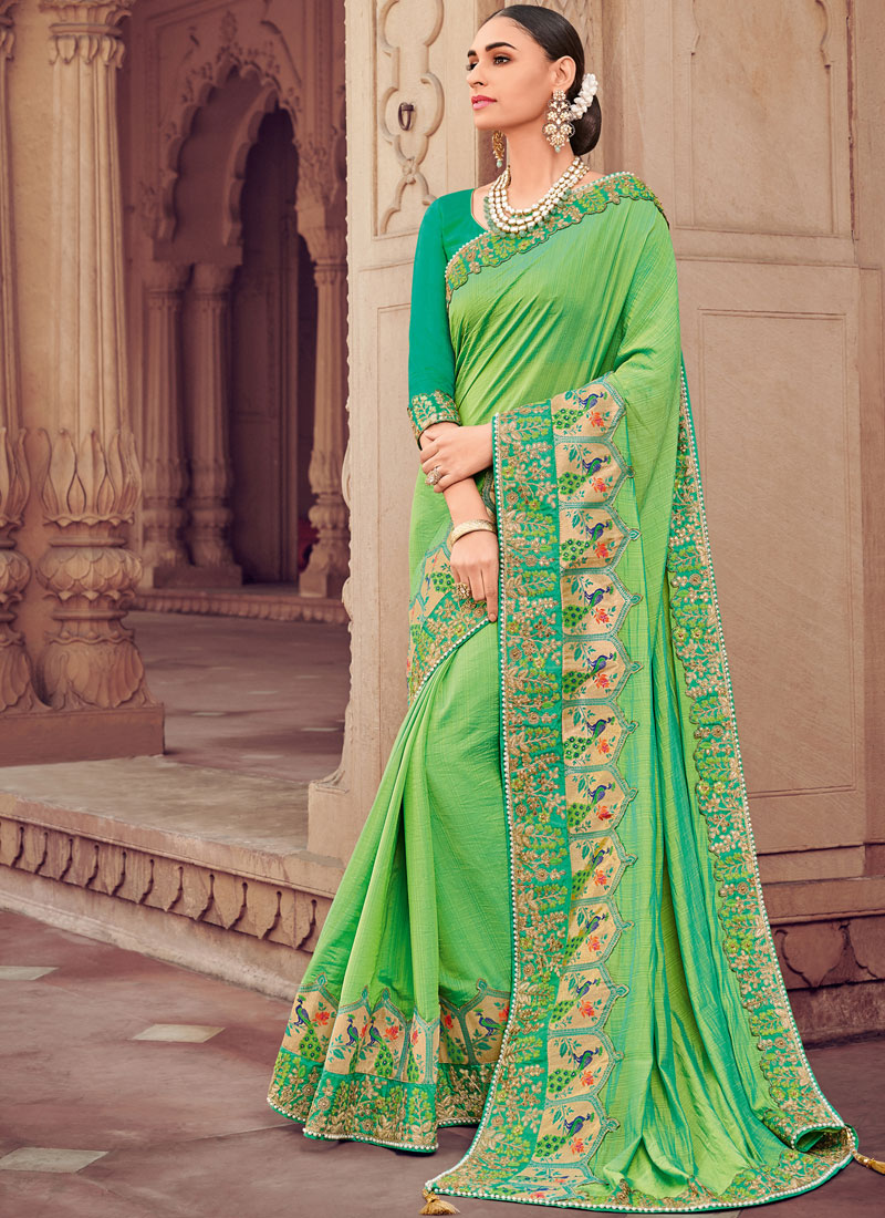 Faux Georgette Embroidered Classic Designer Saree in Green