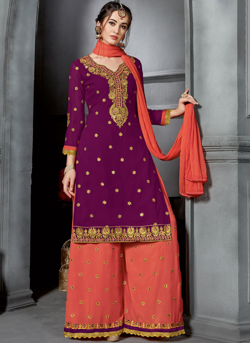 f502c8e39f Faux Georgette Embroidered Purple Designer Palazzo Suit. Hover to zoom