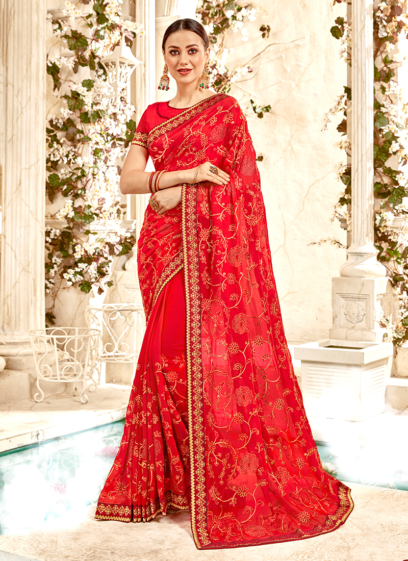 Faux Georgette Embroidered Trendy Saree in Red