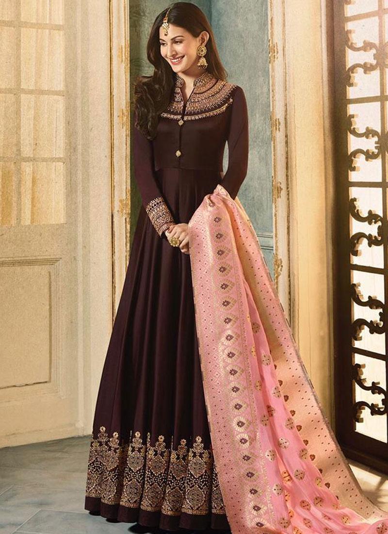 Faux Georgette Floor Length Anarkali Suit in Brown