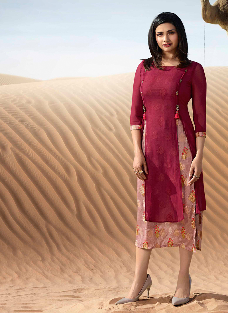 Faux Georgette Party Wear Kurti in Magenta