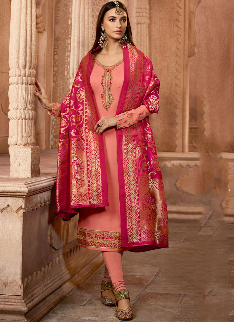 86f69b903e Faux Georgette Pink Embroidered Churidar Designer Suit. Hover to zoom