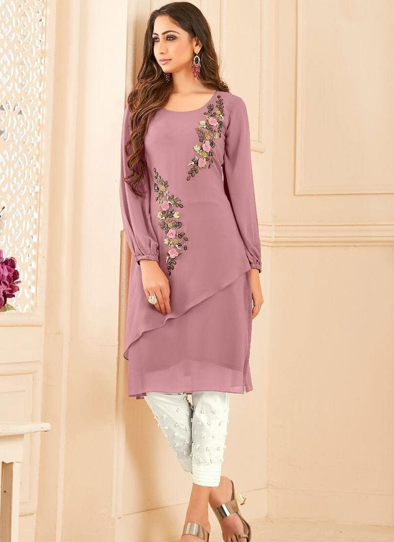 Faux Georgette Purple Fancy Party Wear Kurti