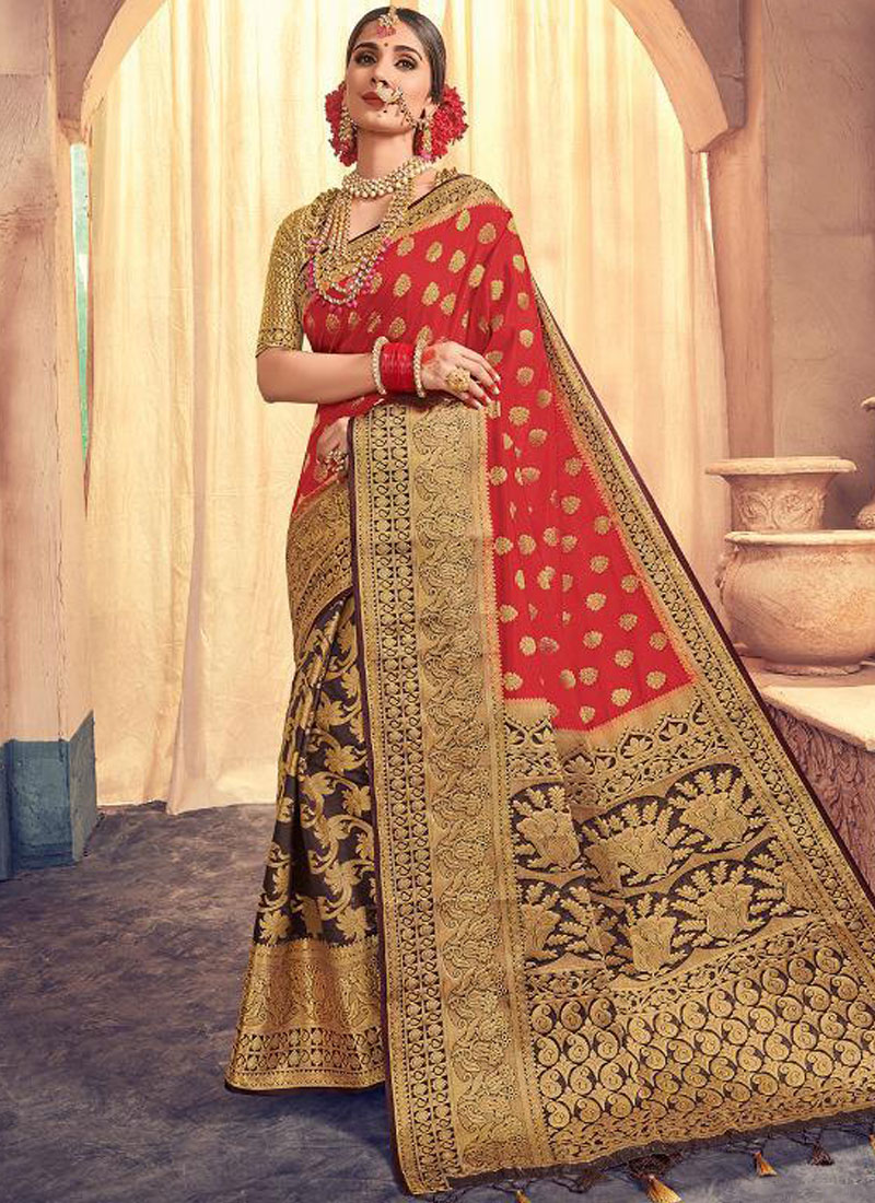 Fetching Banarasi Silk Weaving Red Classic Saree