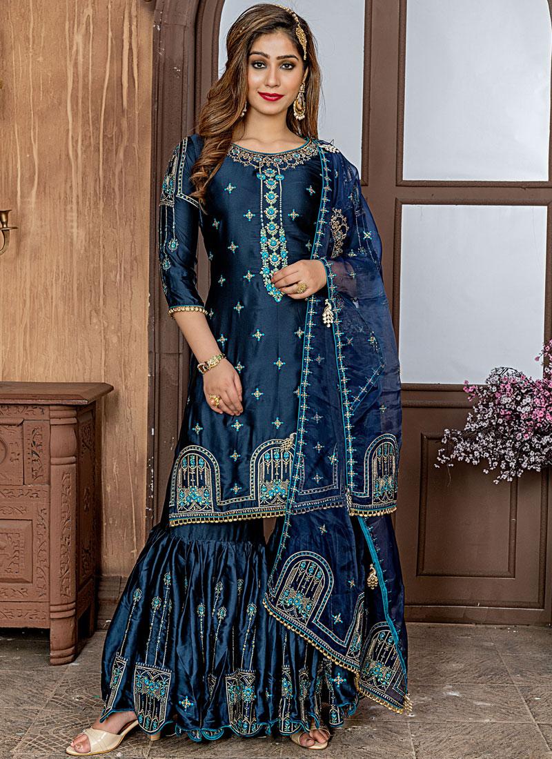 Fetching Embroidered Blue Designer Palazzo Salwar Kameez