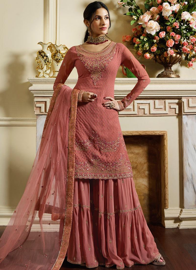 af27229edd Fetching Embroidered Satin Designer Pakistani Suit. Hover to zoom