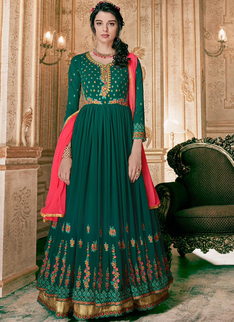Fetching Faux Georgette Floor Length Anarkali Suit