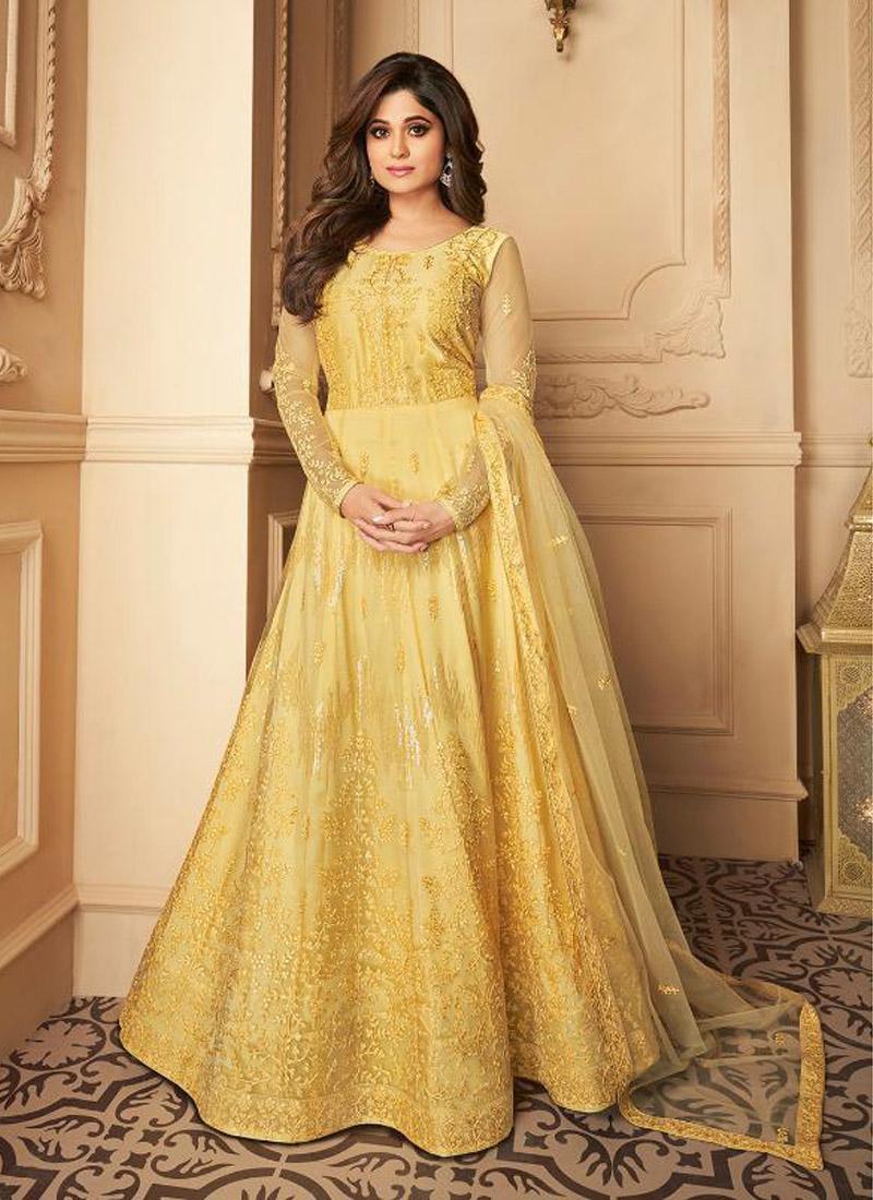 Fine Butterfly Net Yellow Anarkali Suit With Dupatta