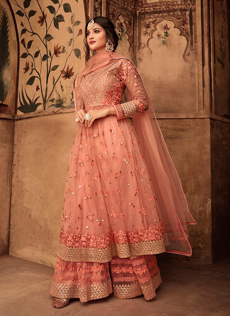 Fine Net Wedding Designer peach pink Pakistani Suit
