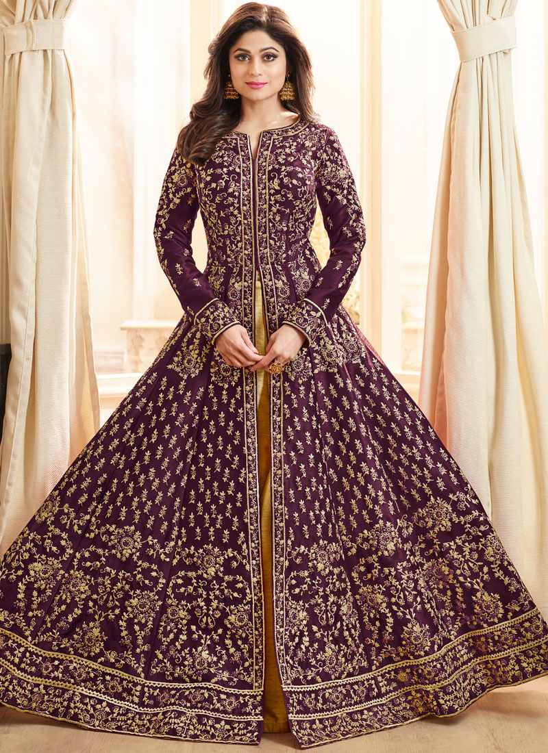 Flattering Lace Purple Shamita Shetty Long Choli Lehenga