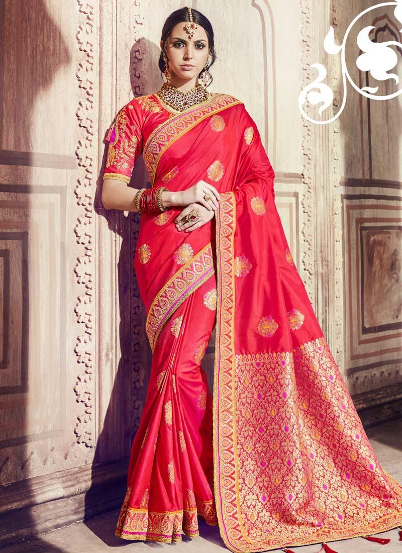 Flawless Red Handwork Trendy Saree