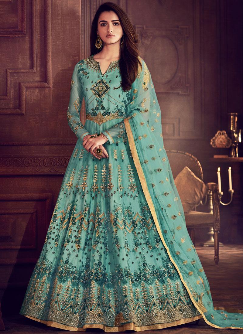 Floor Length Anarkali Suit Lace Net in Blue