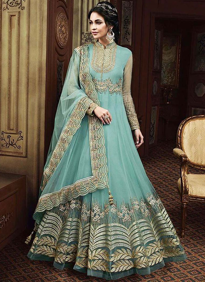 Floor Length Anarkali Suit Resham Net in Blue