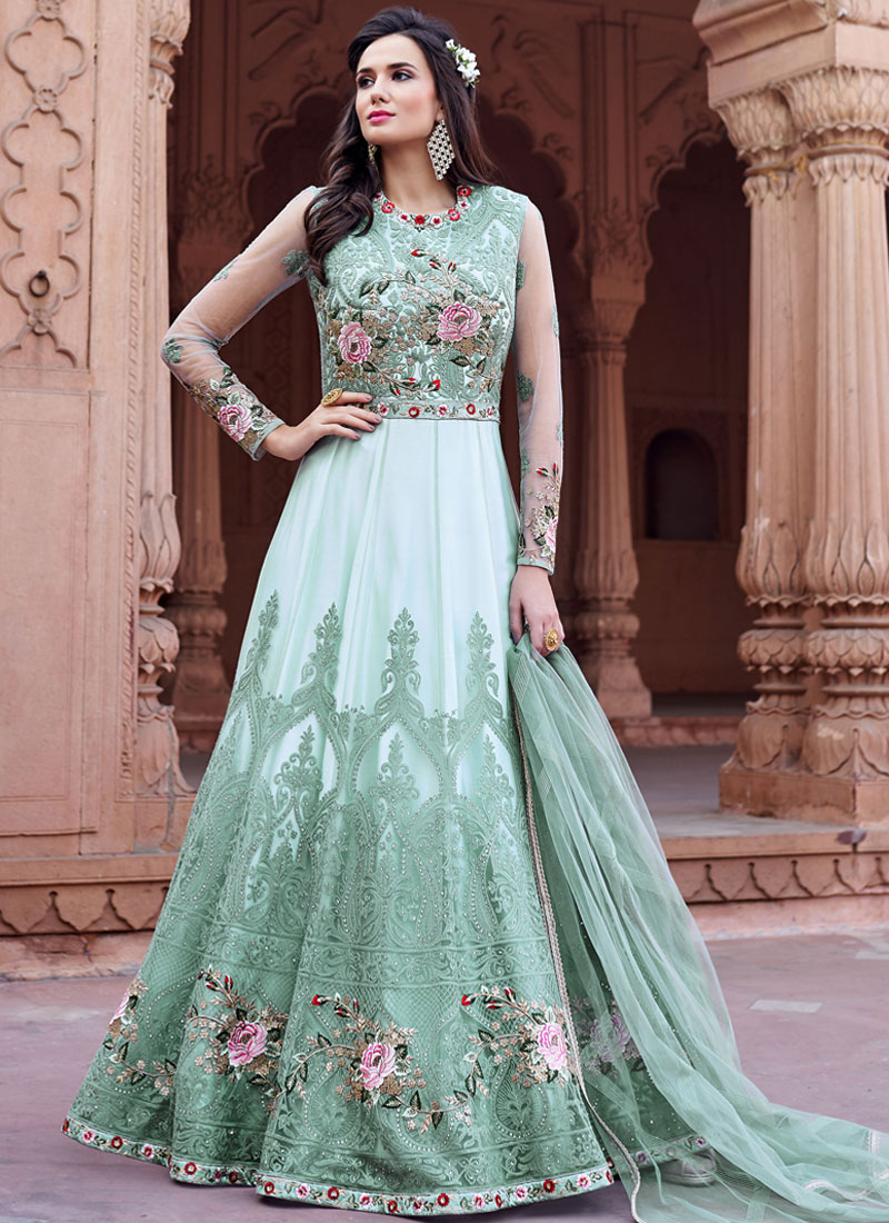 d239a5548f Floor Length Anarkali Suit Resham Net in Sea Green. Hover to zoom