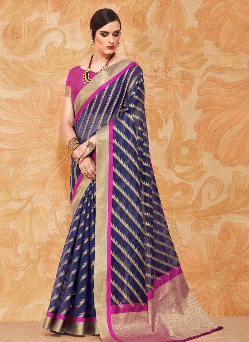 Floral Abstract Print Handloom silk Trendy Saree