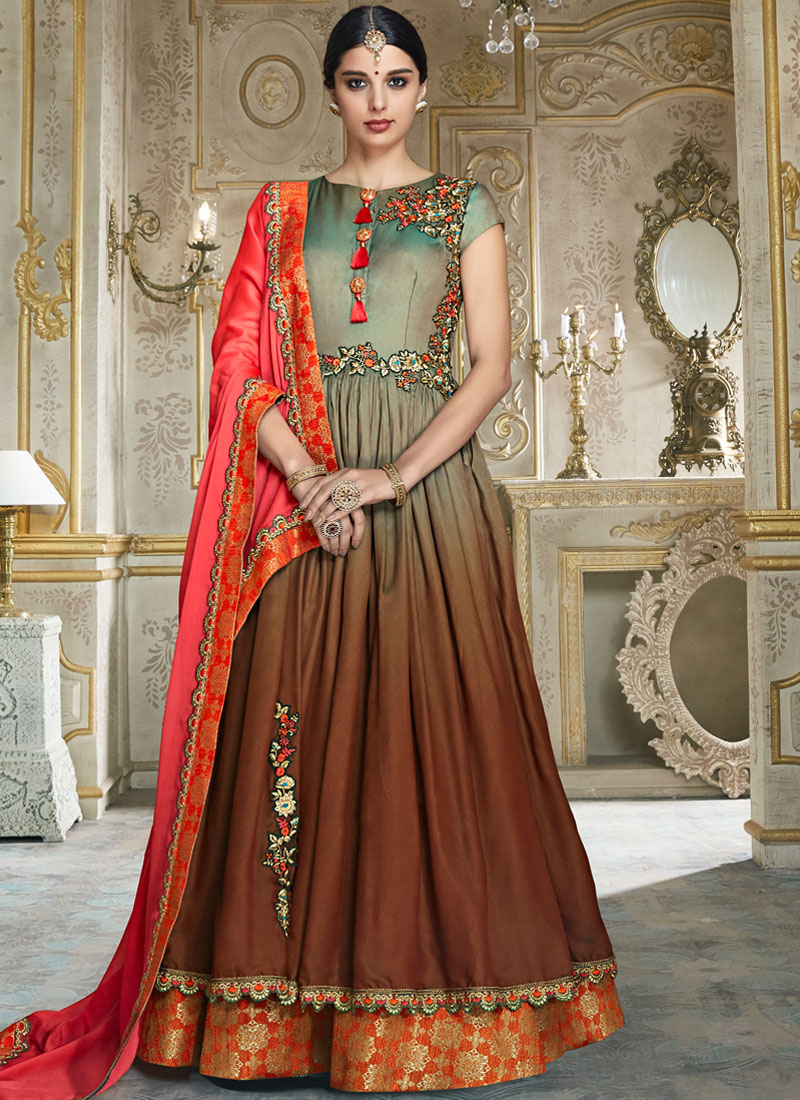Floral Brown and Green Wedding Floor Length Anarkali Suit