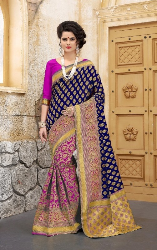 navyblue and pink flower patterned banarasi silk sarees
